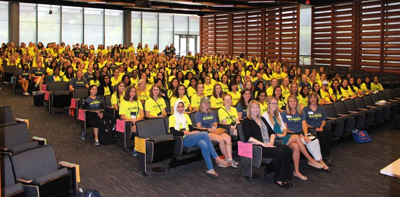Women at an orientation session for new female students at the University of Illinois College of Engineering