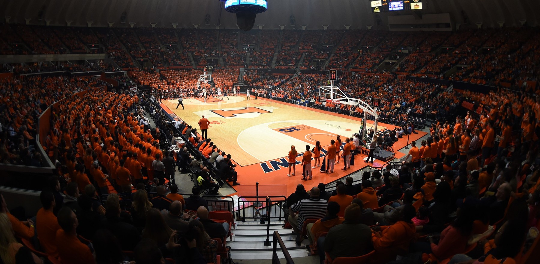 wide view of the court at the State Farm Center