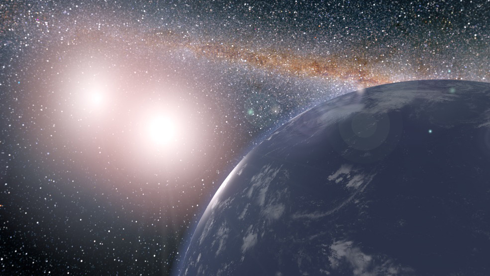 Artist's concept of hypothetical planet covered in water around the binary star system of Kepler-35A and B. Credits: NASA/JPL-Caltech/Siegfried Eggl