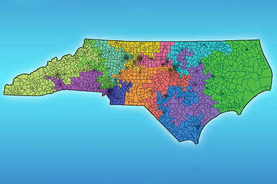color map shows a possible redistricting configuration for North Carolina
