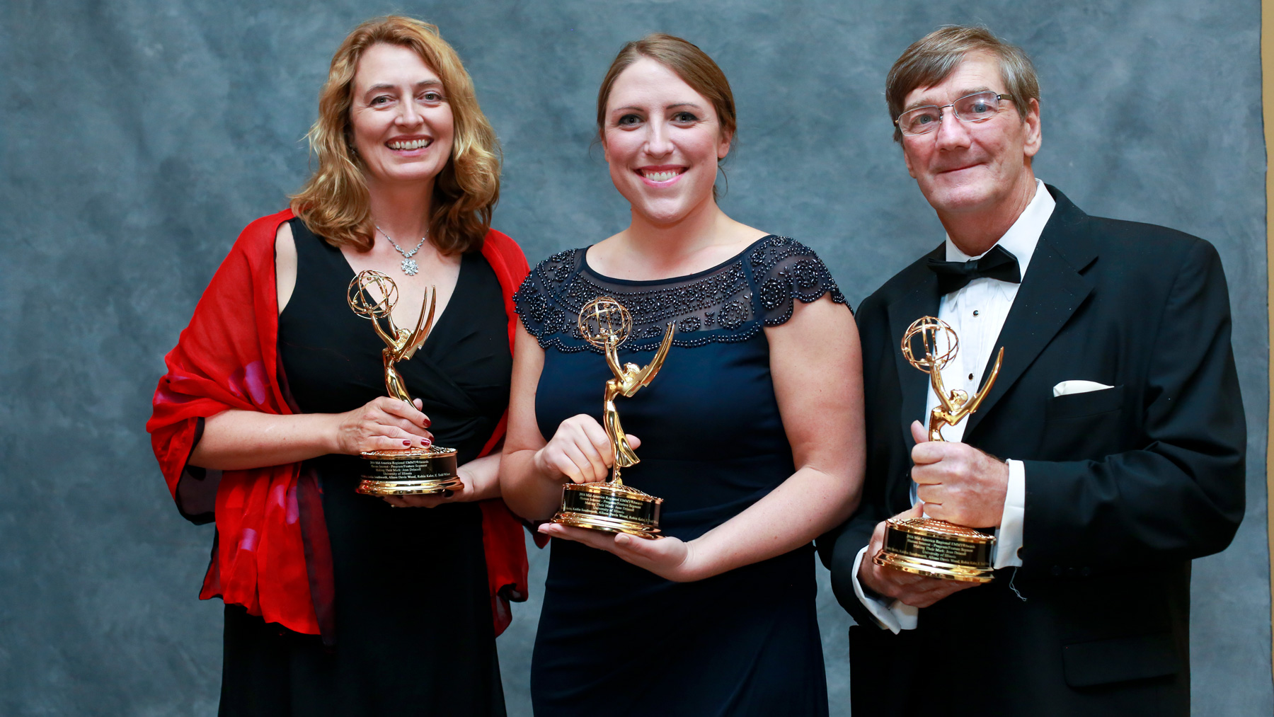 Big Ten Network documentary producers for Illinois: Alison Davis Wood, Tim Hartin, and Kaitlin Southworth