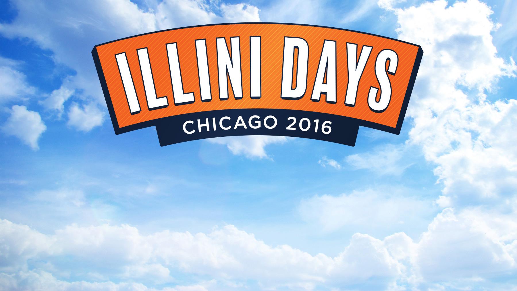 Illlini Days logo on blue sky background