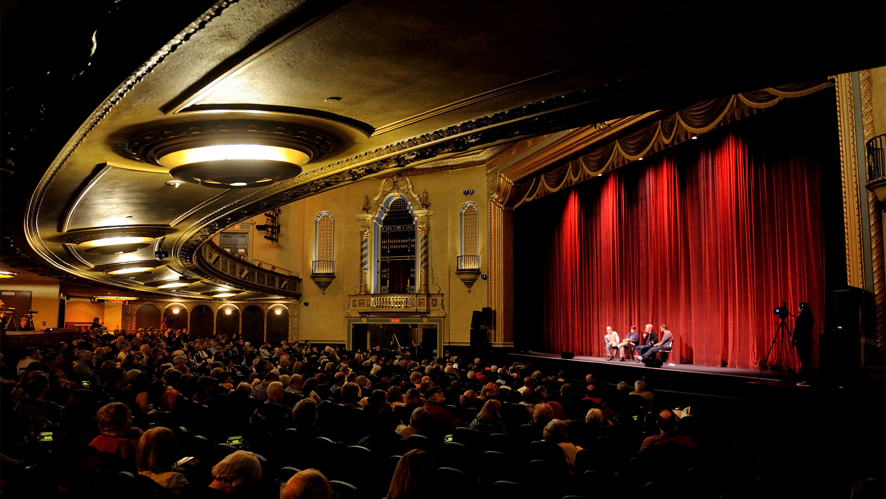 a crowd watches a panel discussion at the 2016 Film Festival. Photo by Thompson McClellan