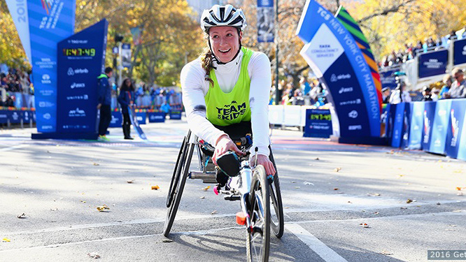 Tatyana McFadden after winning  the 2016 TCS New York City Marathon in Central Park