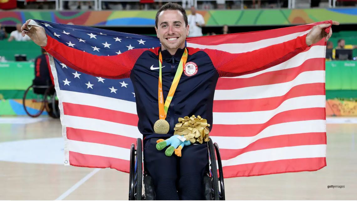 Steve Serio celebrates winning the gold medal after the Men's Wheelchair Basketball Gold Medal match between Spain and USA at the Paralympic Games Rio 2016 on Sept. 17, 2016 in Rio de Janeiro, Brazil. Getty Images