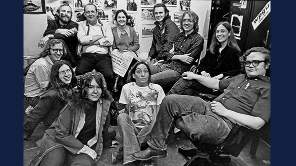 Student journalists pose for a photo in their offices at The Daily Illini in the early 1970s. Photo courtesy of Ron Logsdon