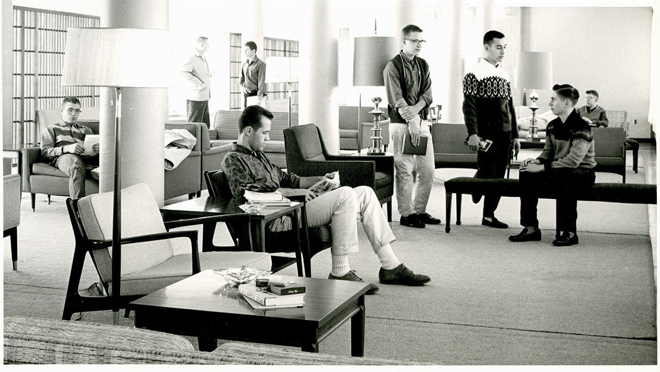 dorm lounge circa 1960s, provided by the University of Illinois Archives