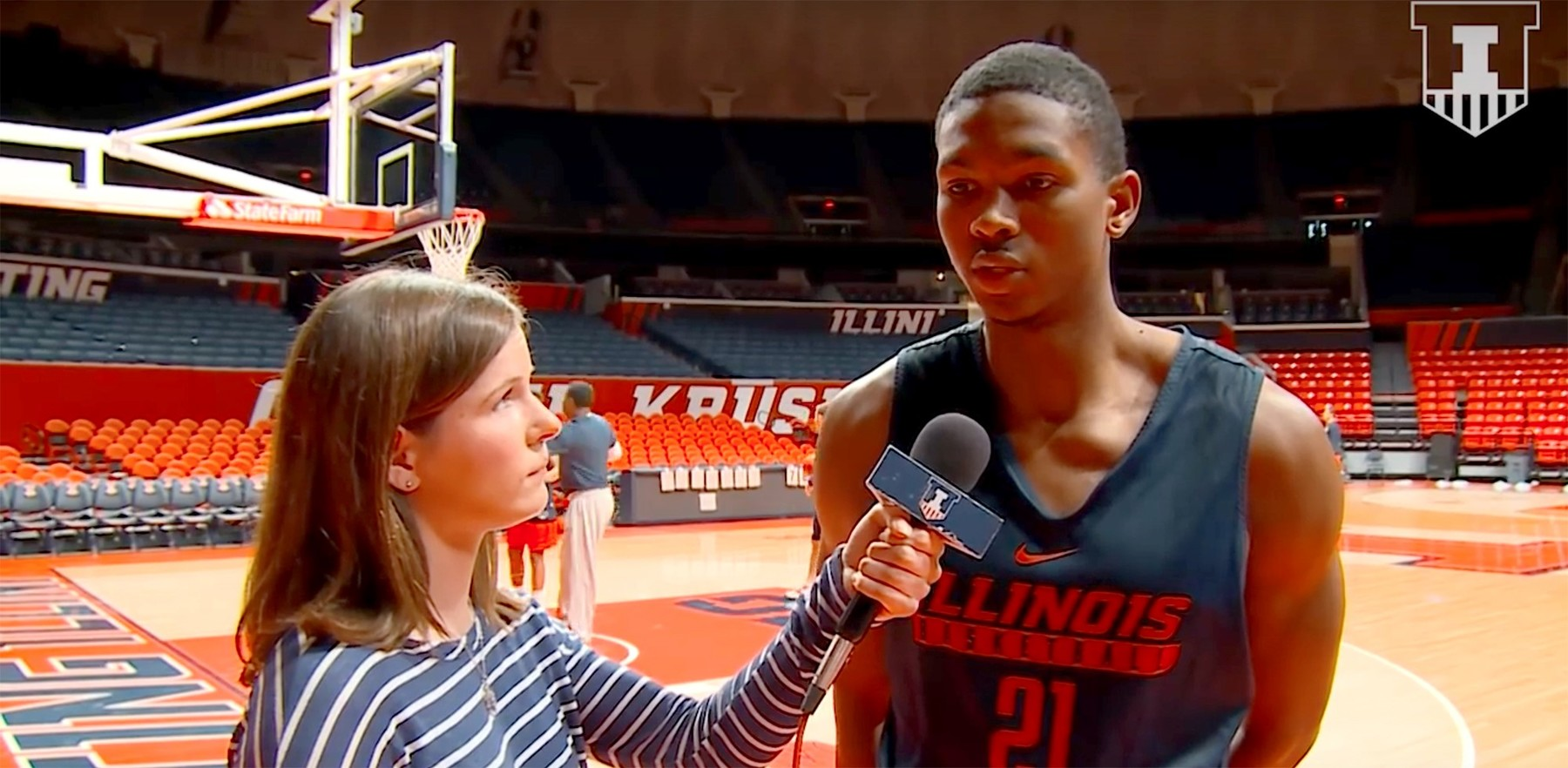 Malcomb Hill being interviewed on court