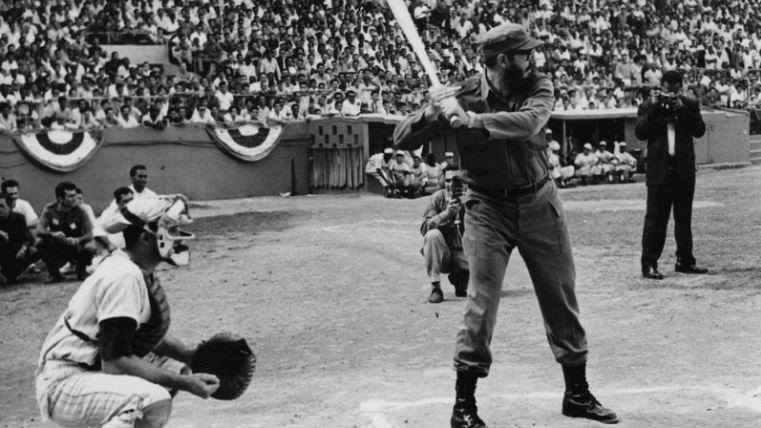 Fidel Castro at the plate, batting in uniform. Keystone/Getty Images.