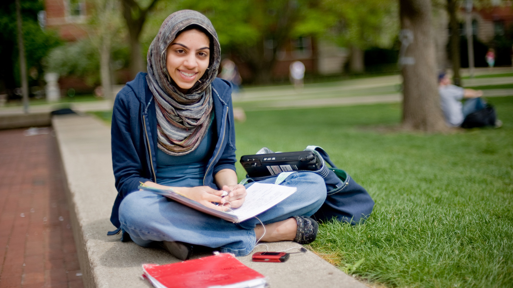 student studying on Quad. Photo by Talia Rogers