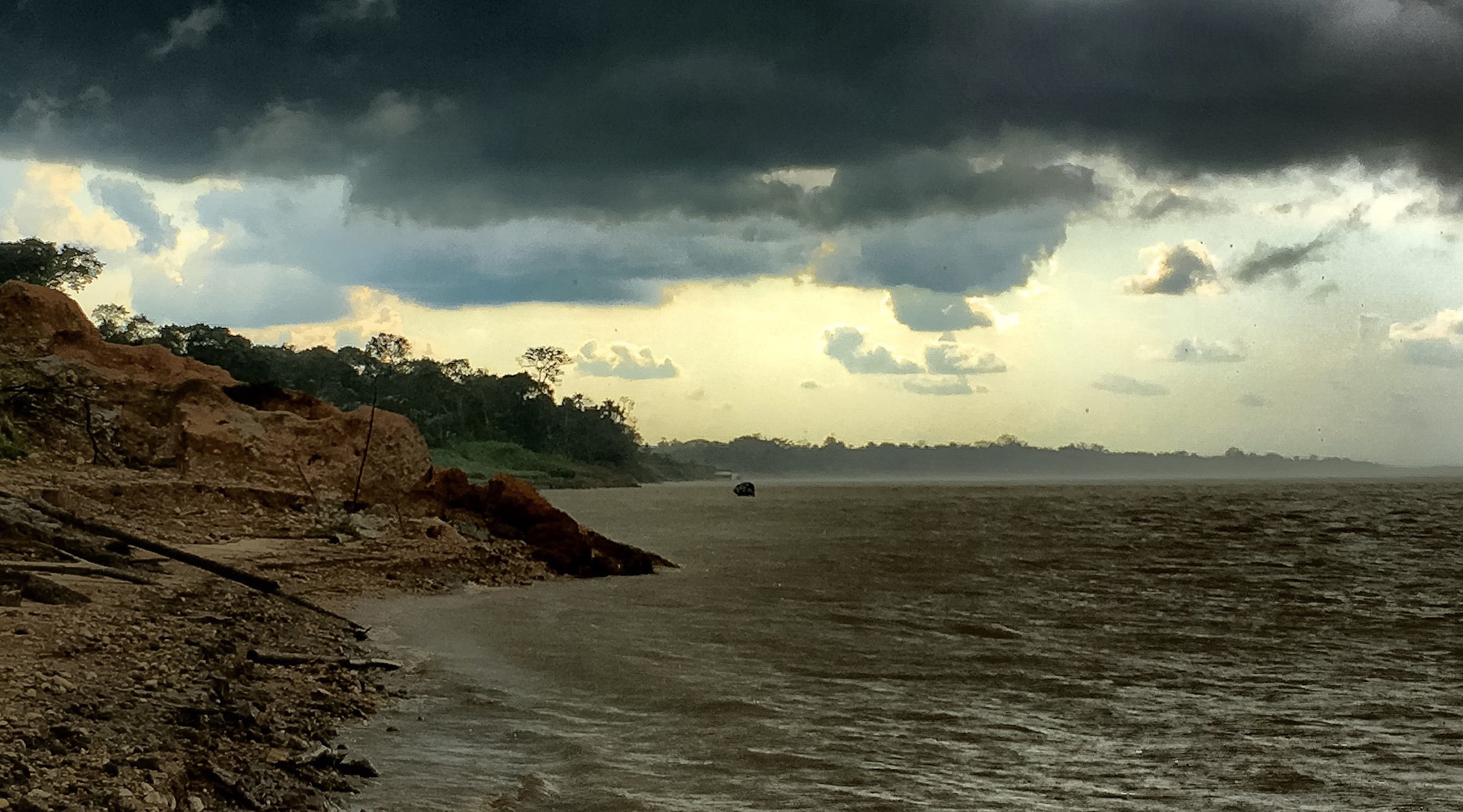 An afternoon storm passes over the riverbanks we were examining, halting field work for a while. Photo by Jim Best