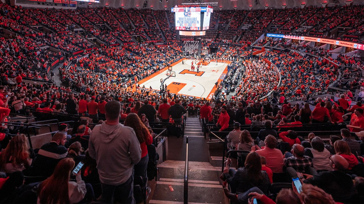 wide shot of State Farm Center during a Fighting Illini game