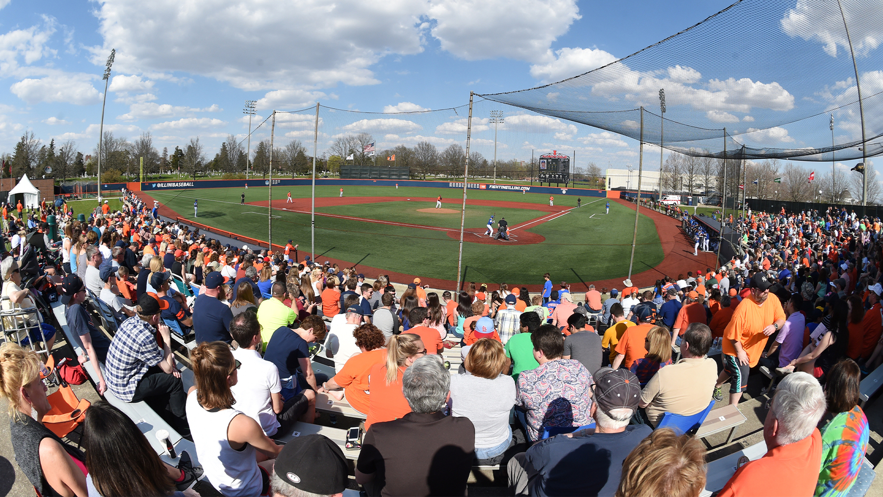 action at Illinois Field on a warm, sunny day pre-COVID-19