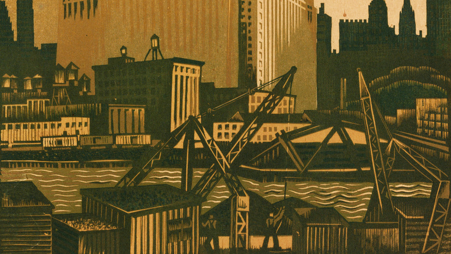 "1935 woodcut ""North Bank of the Chicago River,"" by Charles Turzak. Courtesy of Krannert Art Museum"
