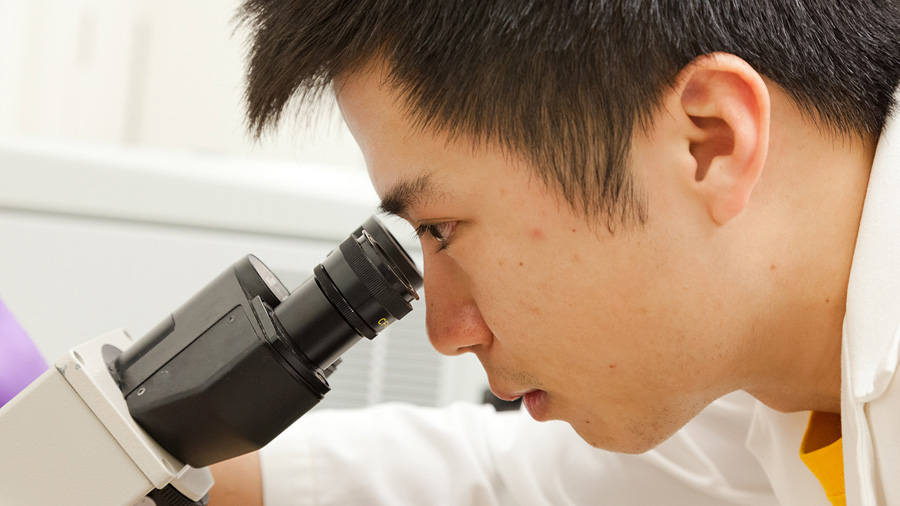 student looking through microscope. Photo by L. B. Stauffer