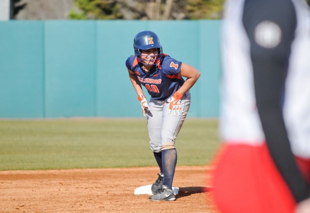 Softball player Nicole Evans leads off second base in game action