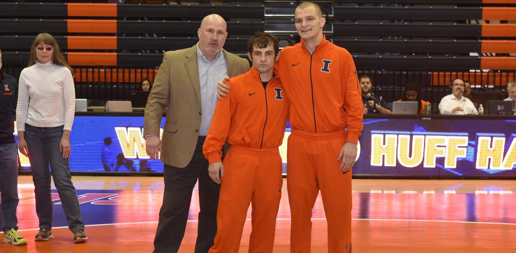 Senior wrestlers Zane Richards and Zac Brunson with Coach Heffernan
