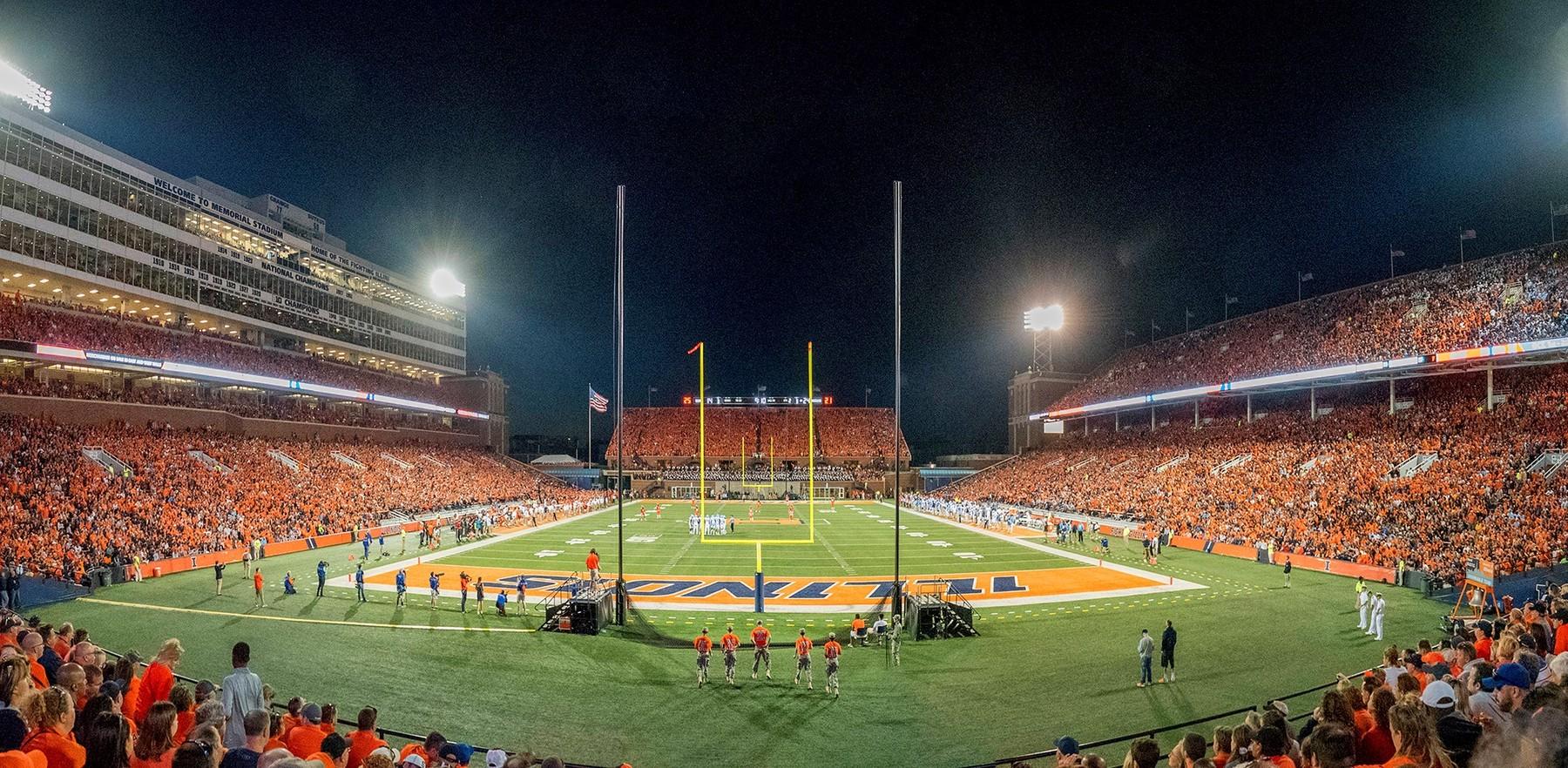 Memorial Stadium on a game night