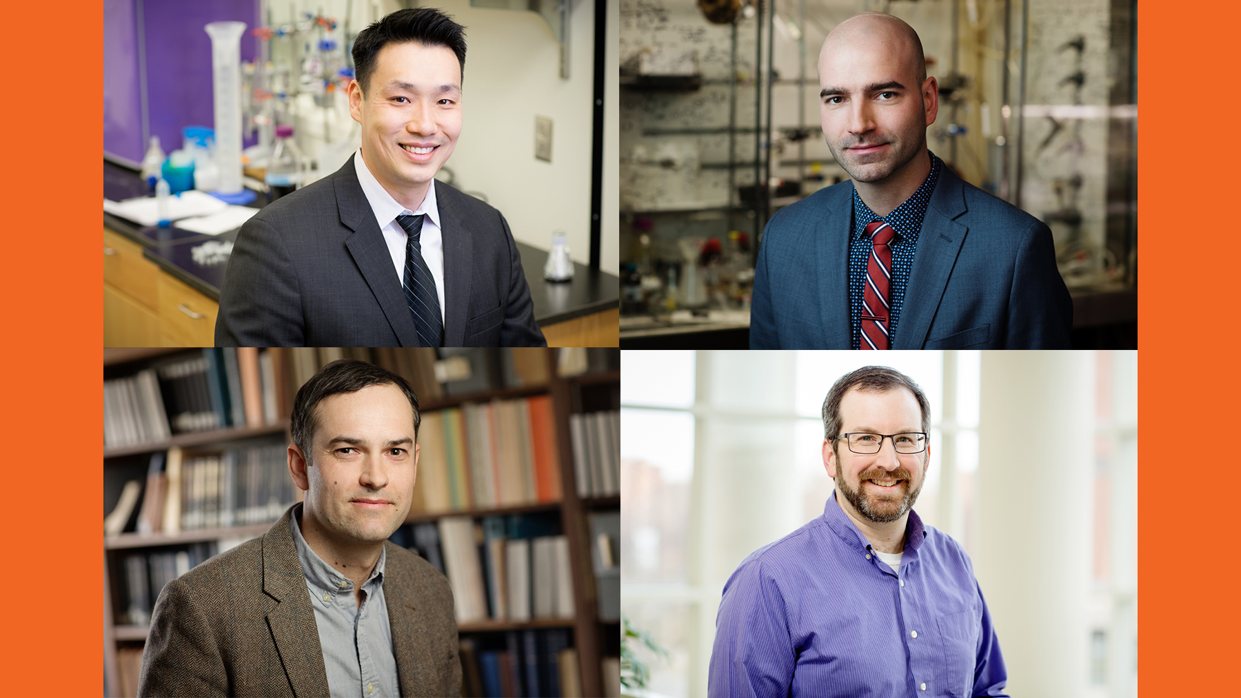composite image of Joaquin Vieira, Jefferson Chan, David Sarlah, and Josh Vura-Weis, Photots by L. Brian Stauffer