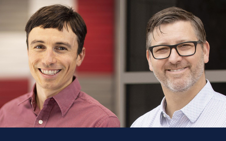 researchers Allen Barton (left) and Doug Smith found opioid use among Illinois high school students tied to other substance use and mental health concerns. Photo by L. Brian Stauffer.