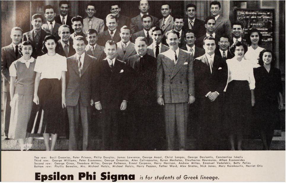 A 1949 Illio group photo of Epsilon Phi Sigma