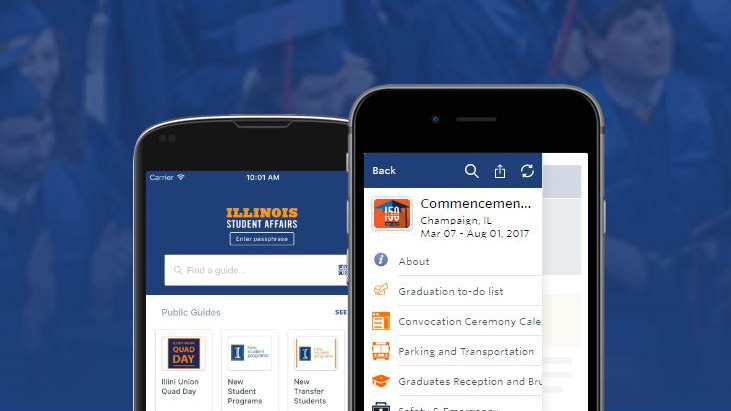 image of phones displaying the commencement app