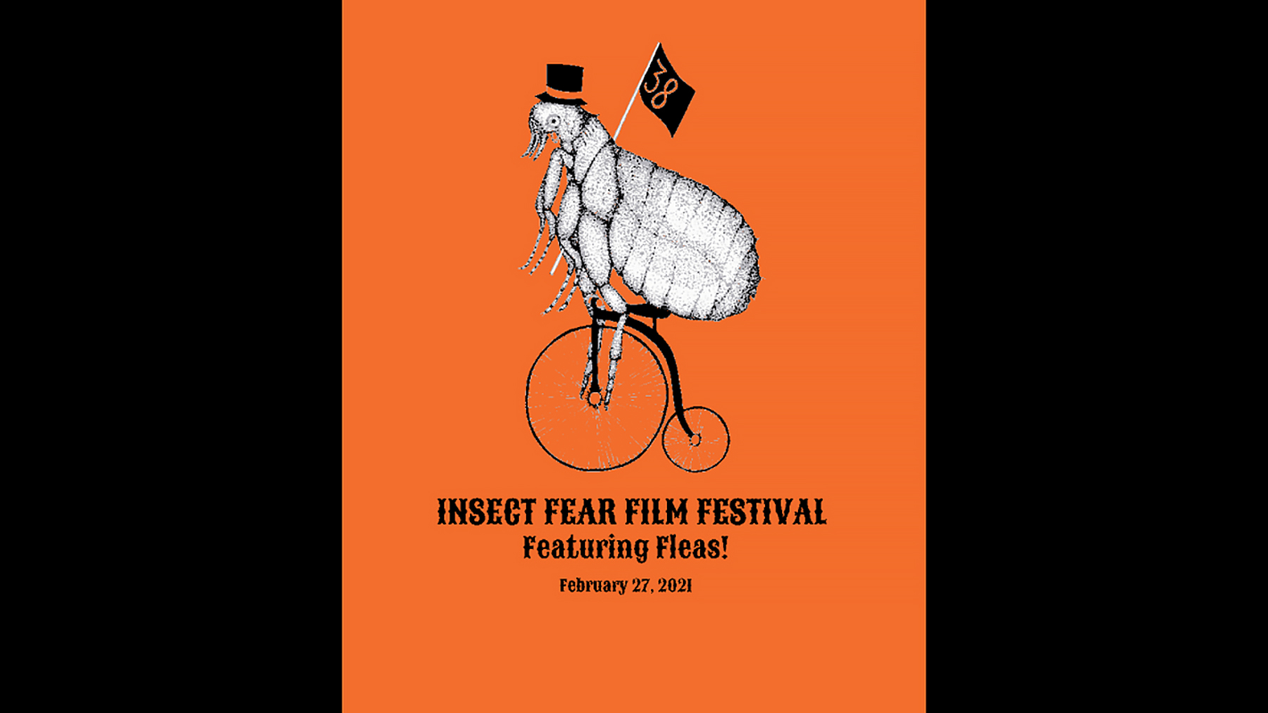 flea riding a bicycle on poster for Insect Fear Film Festival. Artwork by Erin Anderson  Courtesy Entomology Graduate Student Association