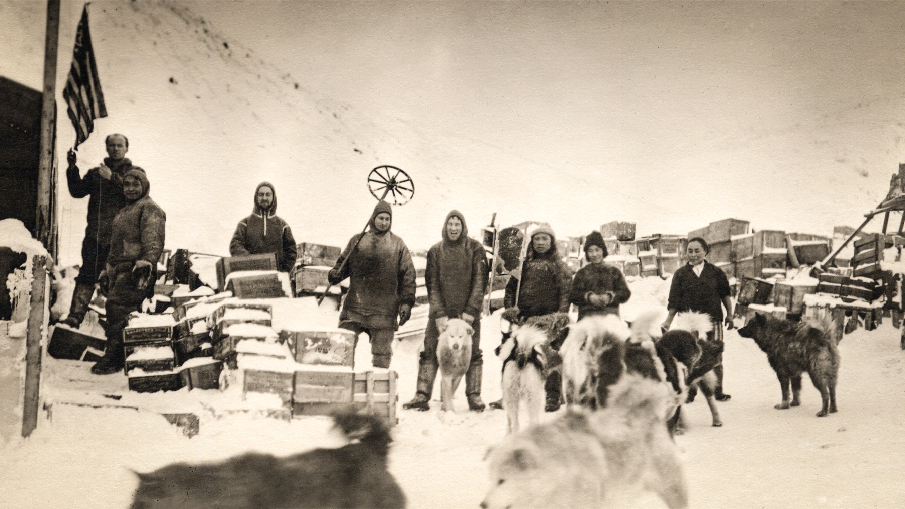 Members of the Crocker expedition with dogs
