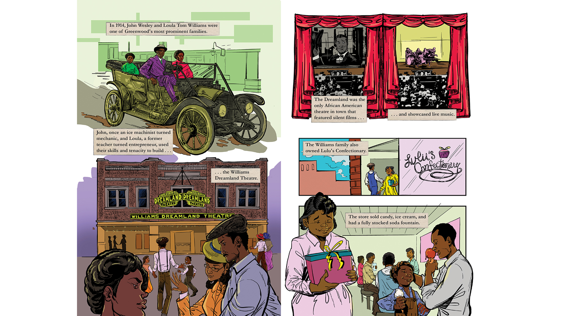 Robinson used bright colors to portray the prosperity of the Greenwood community in Tulsa, Oklahoma.