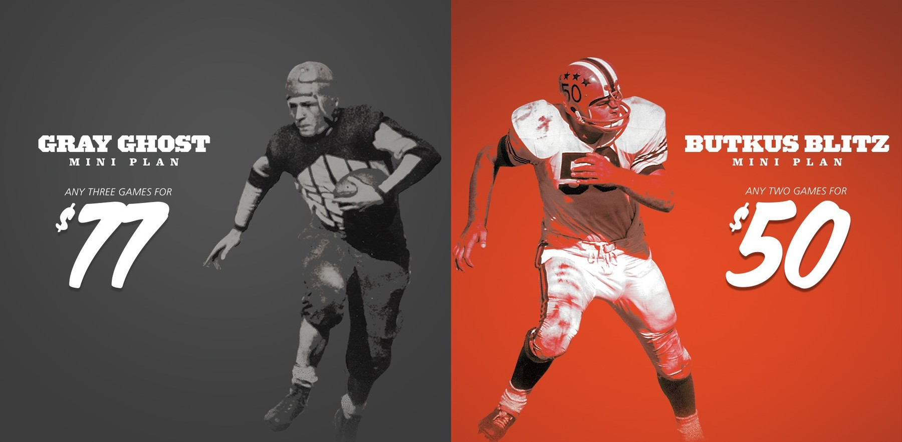 graphic including images of legendary football players Red Grange and Dick Butkis