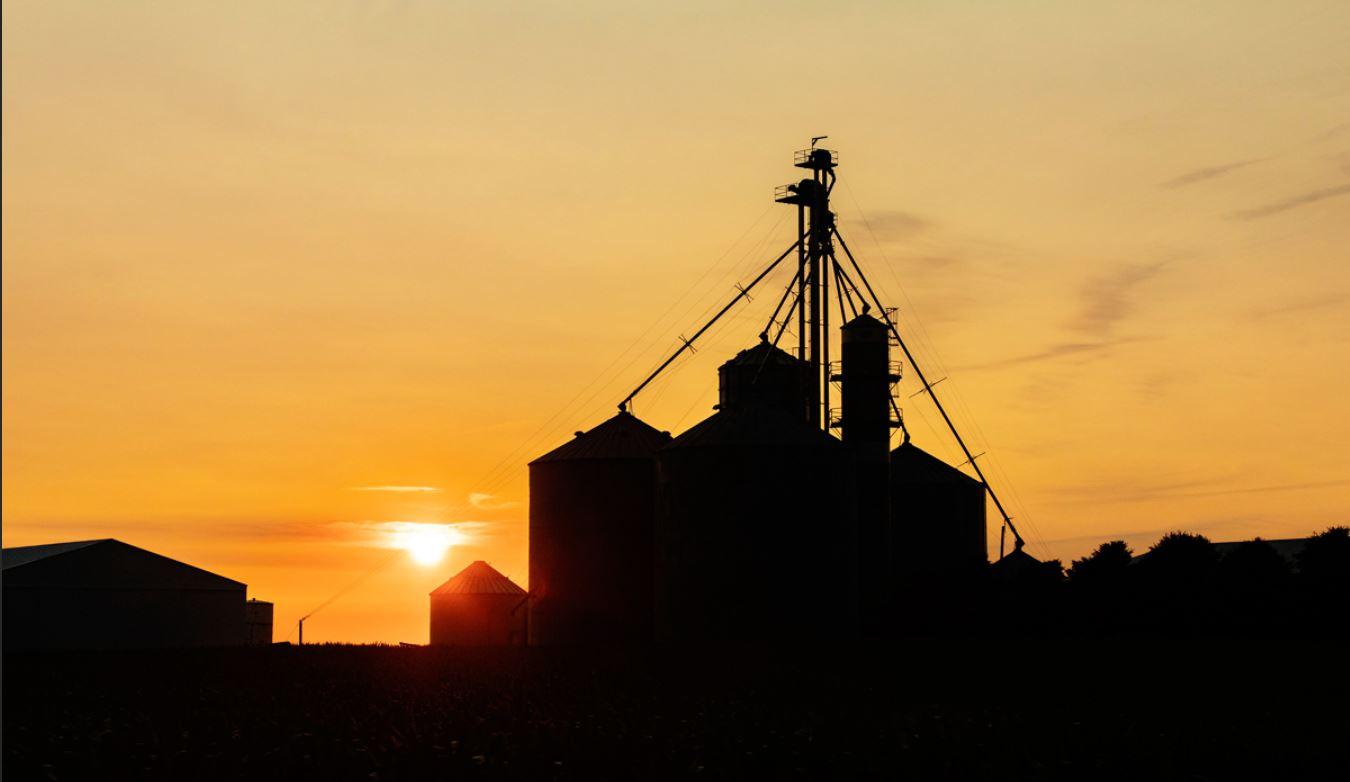 A grainbin in setting sunlight.  Photo by L. Brian Stauffer