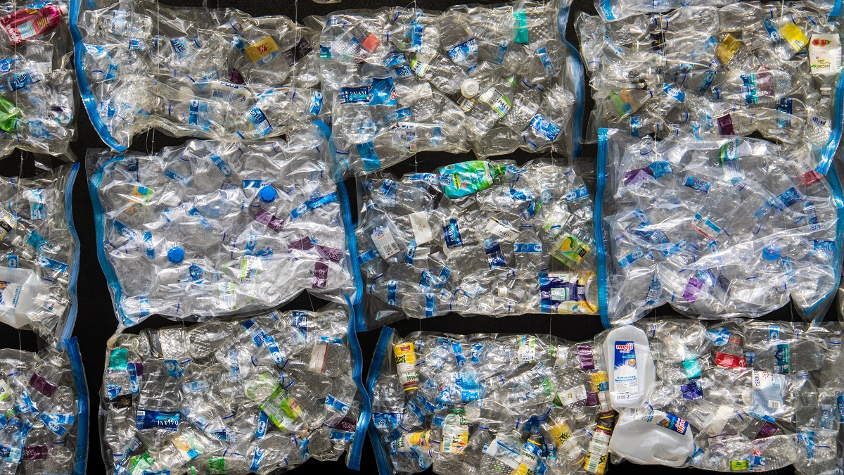 stock image of packaged, recyclable plastics