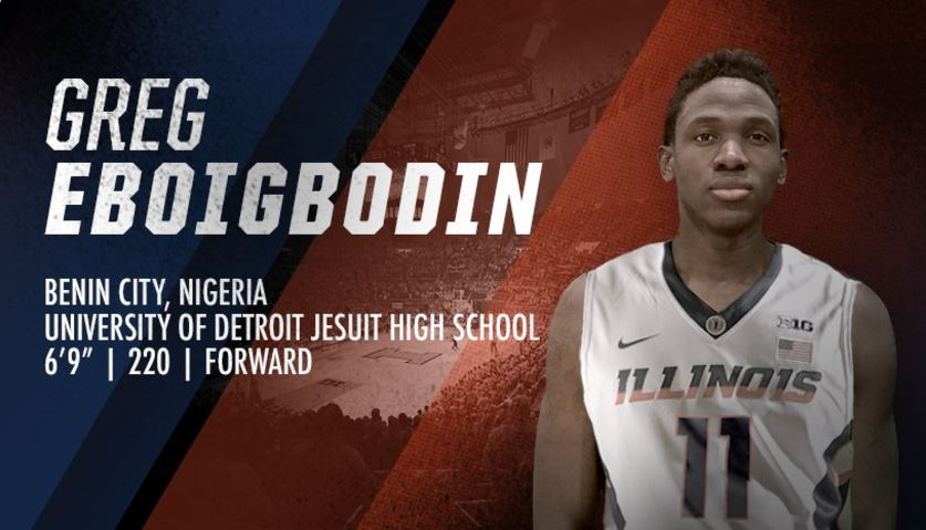 graphic image showing Greg Eboigbodin in an Illini uniform