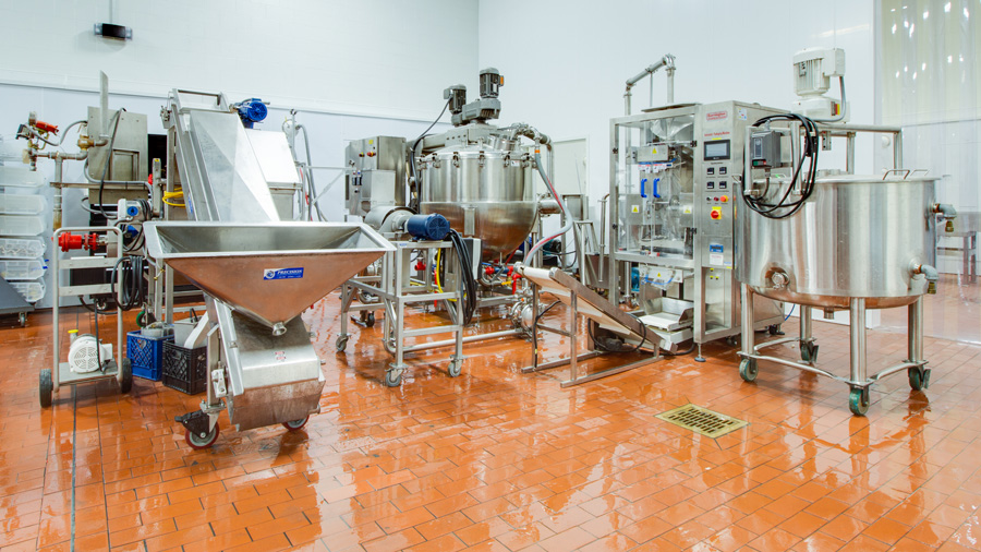 shiny stainless steel food precessing equipment