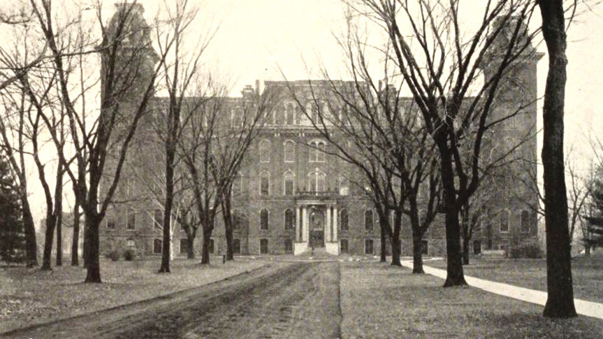 University Hall (1910) first opened in 1873. (Photo courtesy of UI Archives)