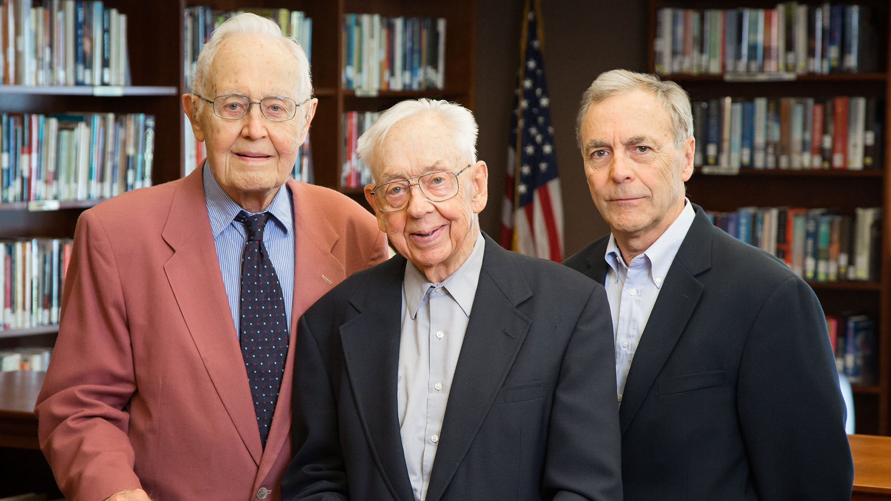 Recipients of the Chancellor's Medallion Winton Solberg, Maynard Brichford, and William Maher. Photo by L. B. Stauffer