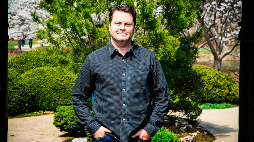 Actor Nick Offerman on the grounds of Japan House at the University of Illinois. Photo by Brian Stauffer