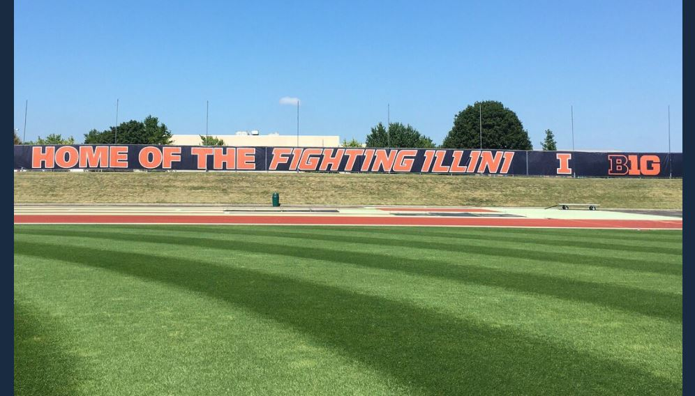 new signage at the soccer-track stadium