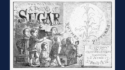 "The cover illustration of ""The History of a Pound of Sugar"" (1861), by William Newman, shows white English children watching a magic lantern show about sugar cane.  Courtesy Elizabeth Hoiem"