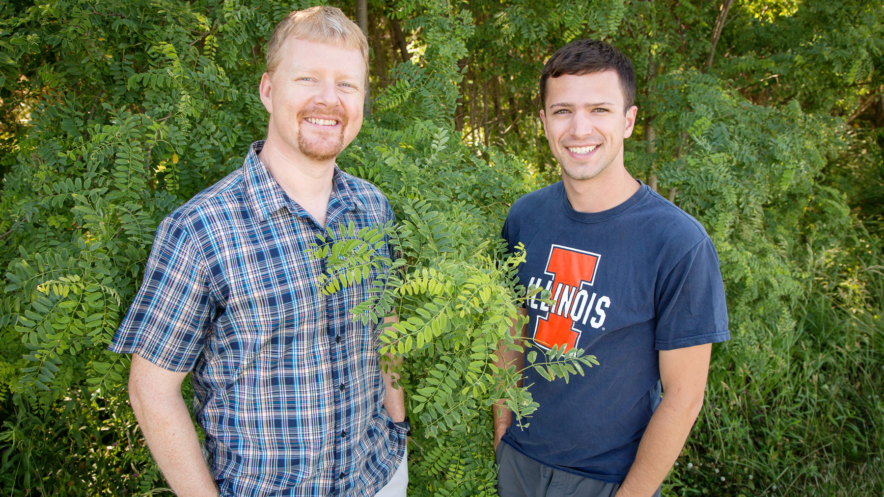 Professor Andrew Leakey with former undergraduate researcher Kevin Wolz. Photo by Brian Stauffer