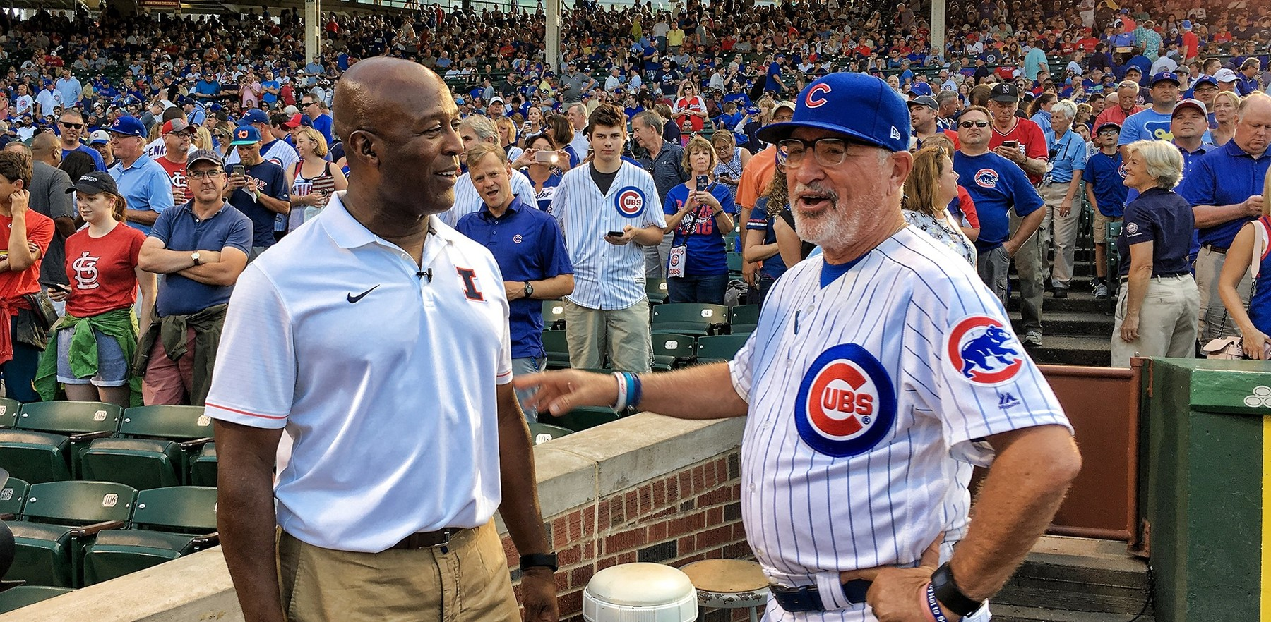 Lovie Smith and actor Bill Murray at a recent Cardinals-Cubs baseball game