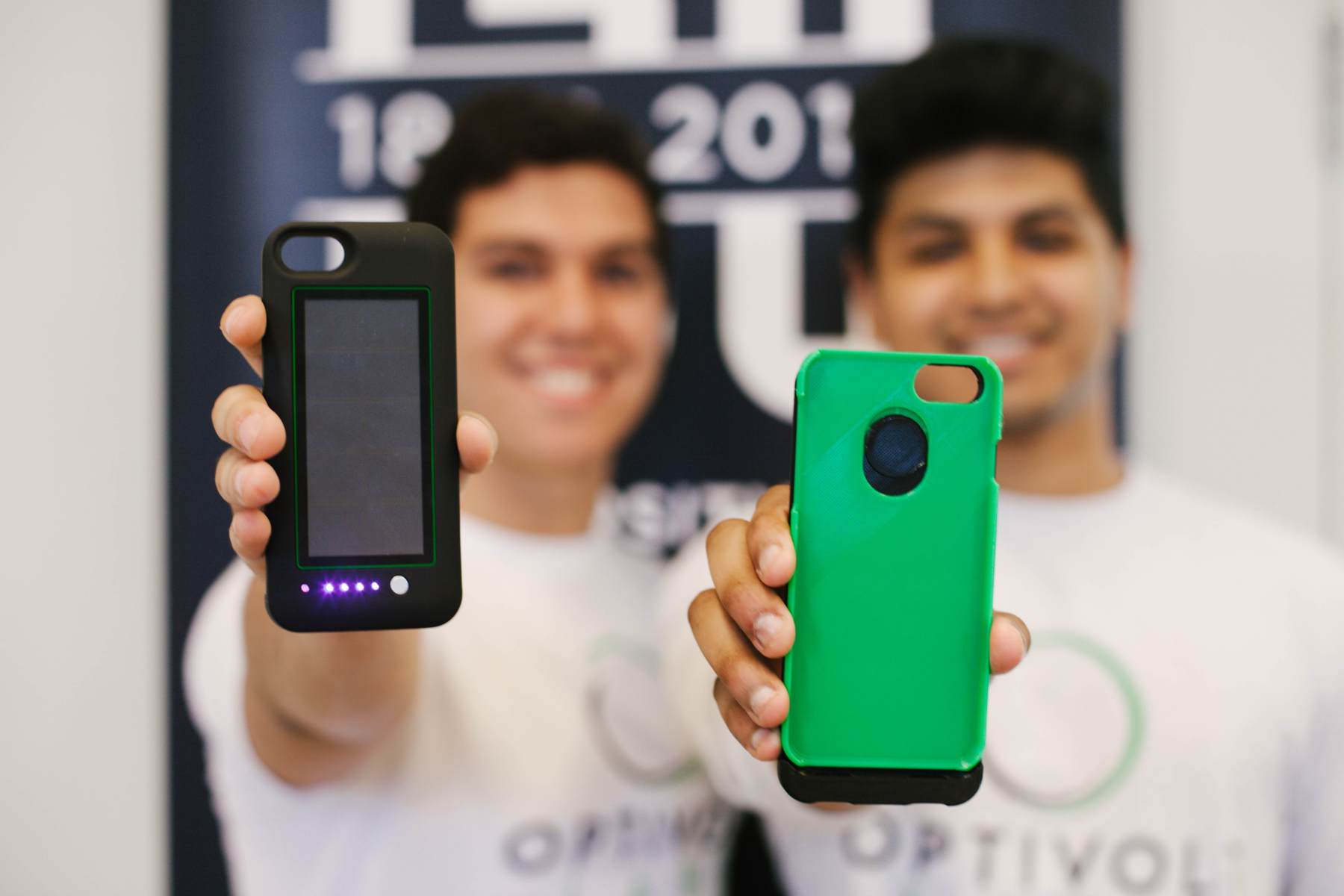 Couston and Kalyanpur hold prototypes of their phone cases. Photo by Emma Fleener.