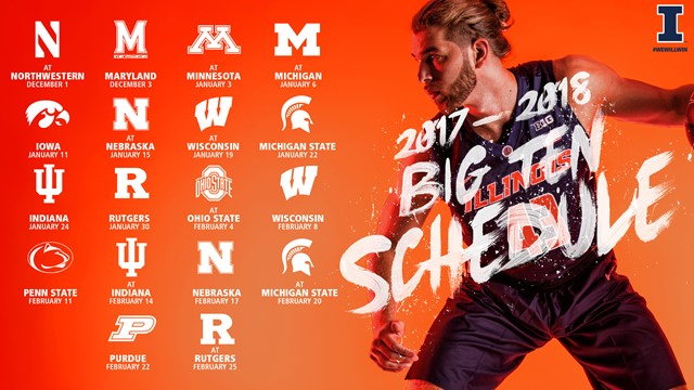 graphic with Illinois Men's Basketball Big Ten schedule