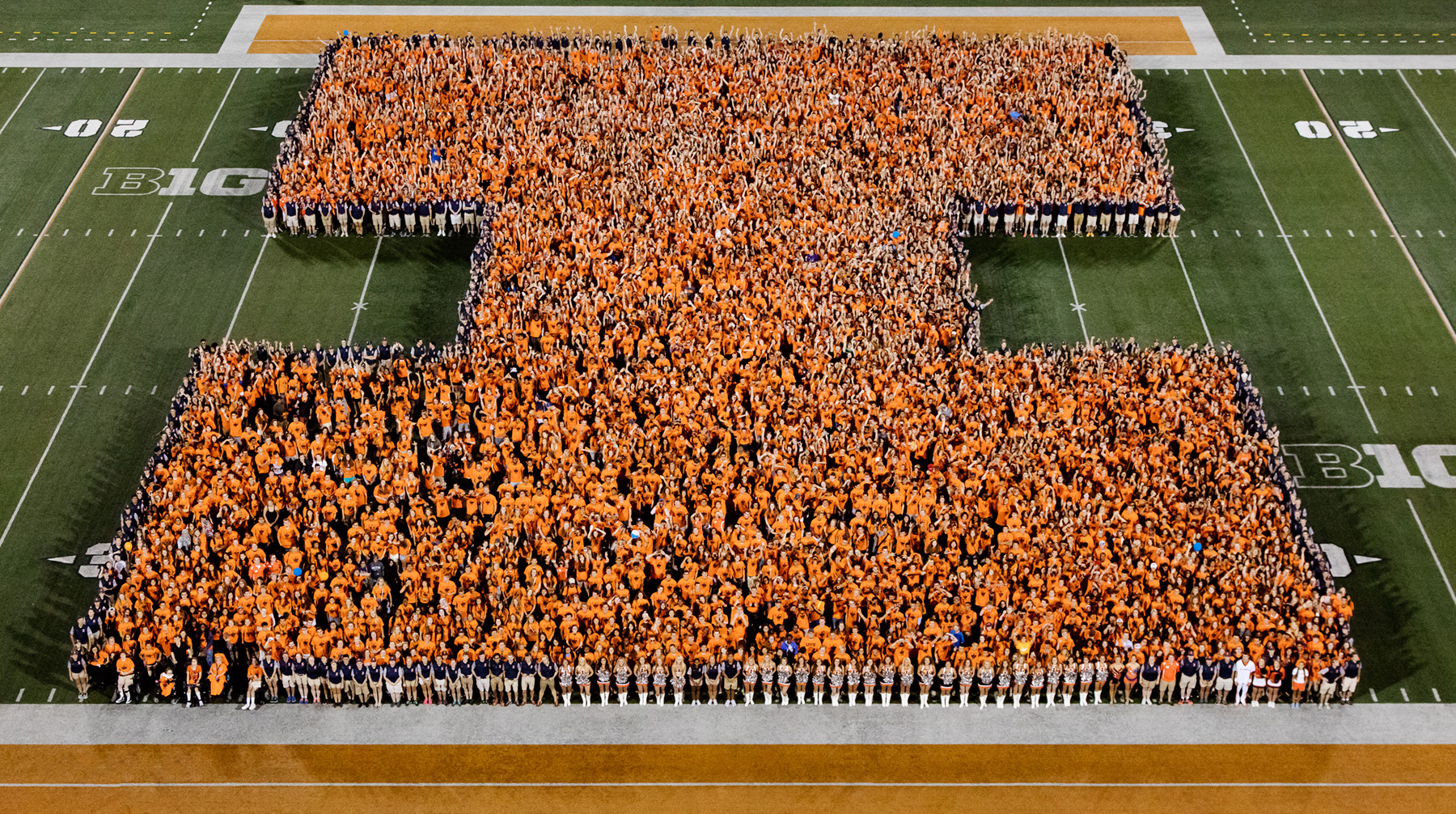 new students form the Block I logo in 2016