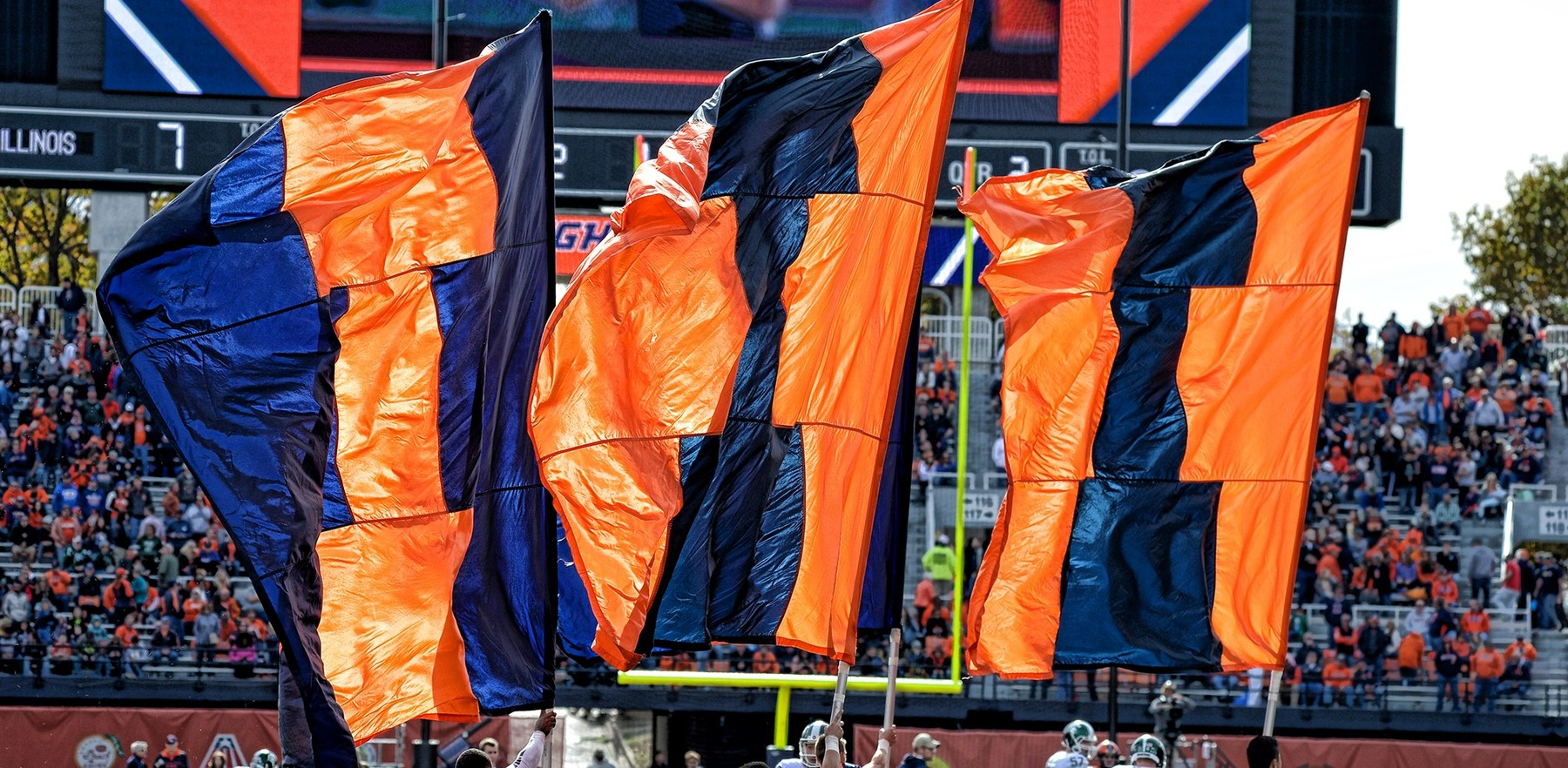 Illini flags at Memorial Stadium