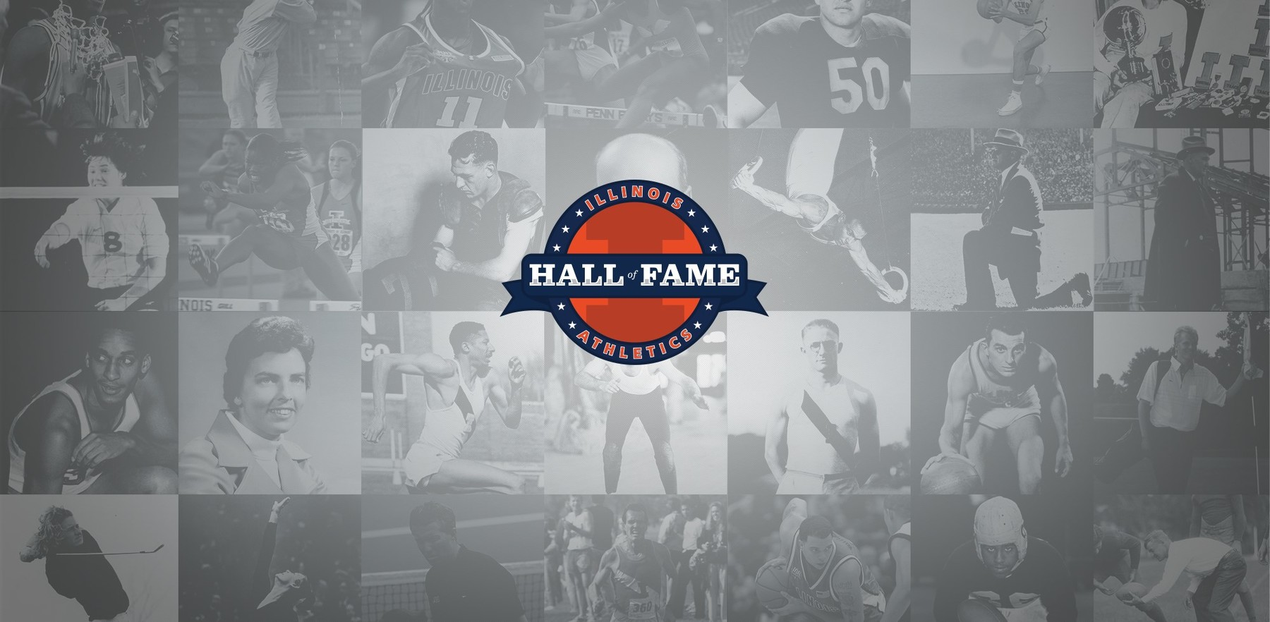 Illinois Athletic Hall fo Fame logo over images of inductees