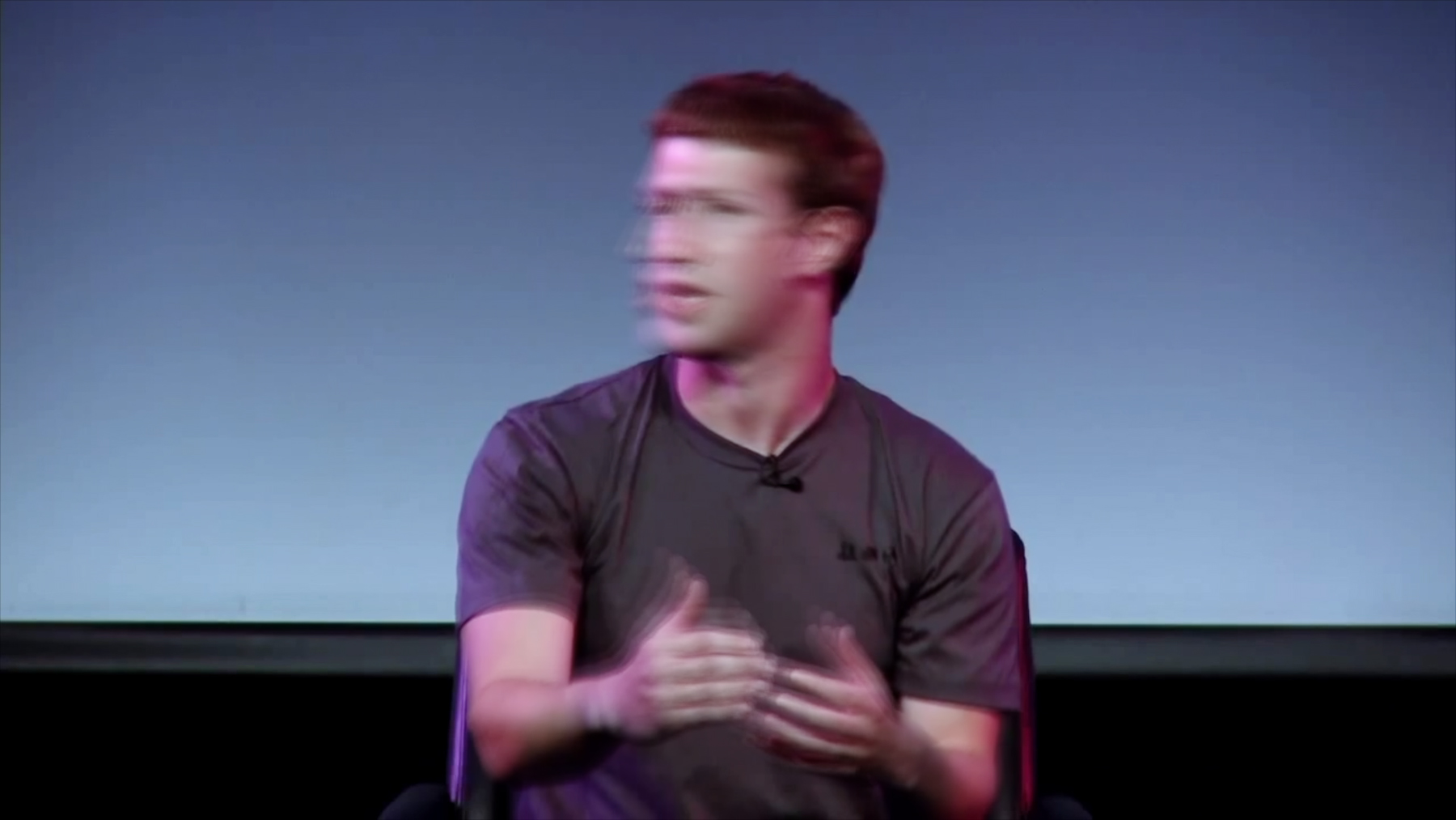"""The video supercut """"DEFICIT OF LESS"""" examines how often Facebook CEO Mark Zuckerberg uses the word """"less"""" – under a minute total in 15 years of footage. Image courtesy Ben Grosser"""