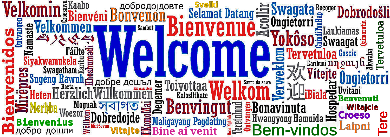 graphic showing the word 'welcome' in many languages
