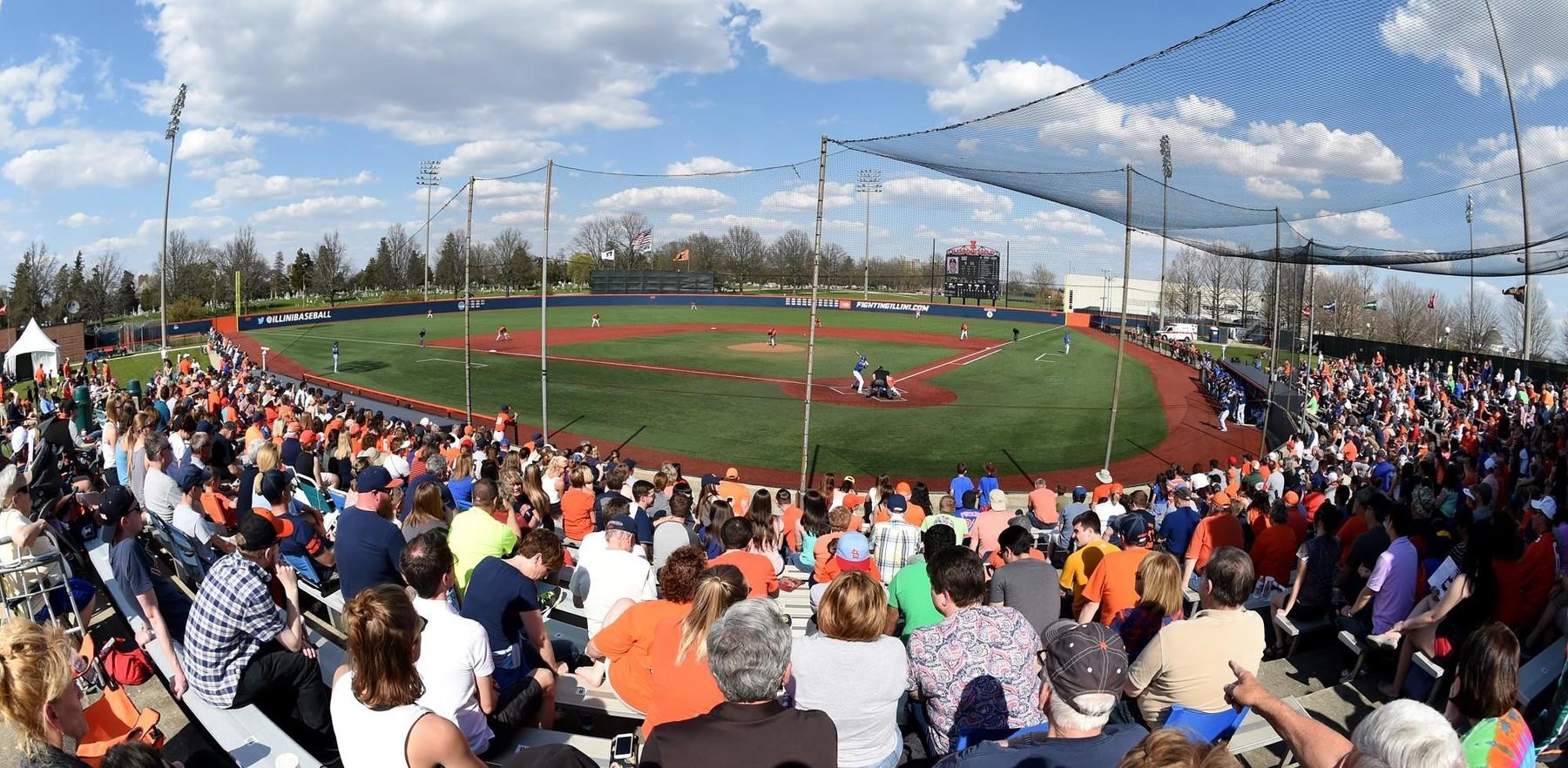 crowd awaits baseball at Illini Field