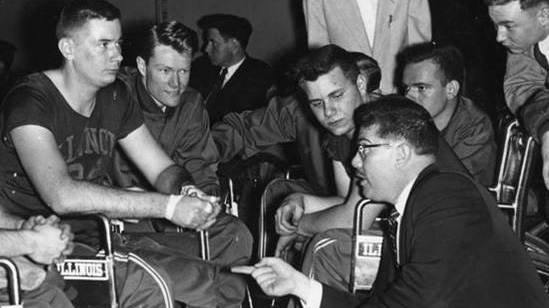 archival photo of Tim Nugent as coach of one of the nation's first wheelchair basketball teams